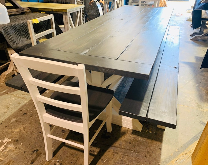 Rustic 9ft Long Pedestal Farmhouse Table Benches and Chairs Carbon Gray with Pure White Base Dining Set and Kitchen Table with Breadboards