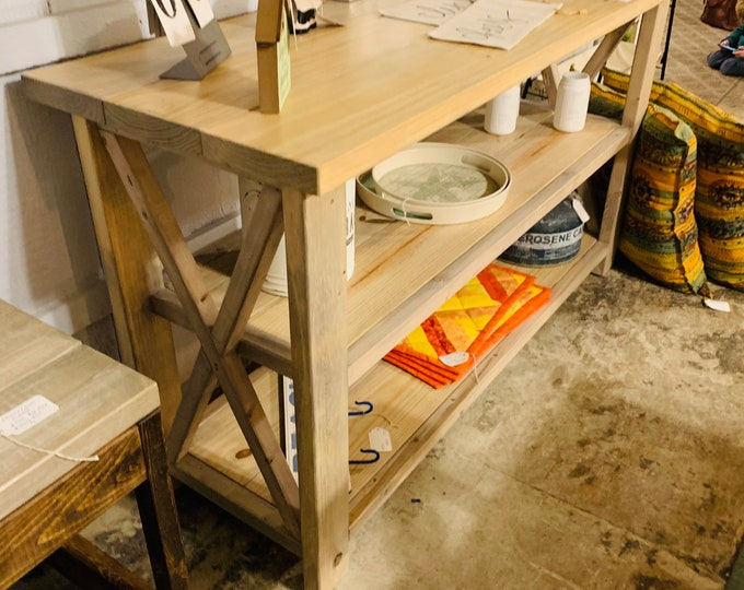Rustic Wooden Buffet Table, Rustic Console Table, Farmhouse Buffet Table, Vintage Aged Wood Look and X Accents In Stock