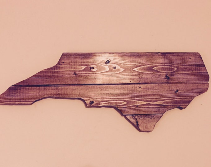 North Carolina Wooden NC Cutout Sign with Walnut Stain Finish Rustic Wall Art and Wall Decor