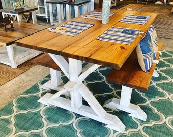 Rustic Pedestal Farmhouse Table With Benches Early American Brown with White Distressed Base Dining Set