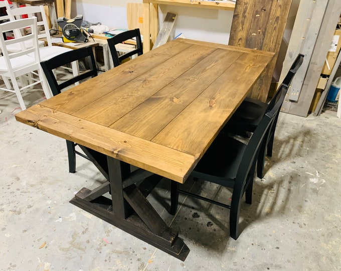 Rustic 6ft Long Pedestal Farmhouse Table With Black Chairs Provincial with Black Base Dining Set and Kitchen Table with Breadboards
