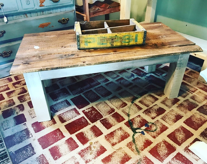 Farmhouse Style Coffee Wooden Table with Creamy White Distressed Base and Stained Walnut Colored Top