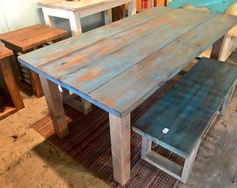 Rustic Farmhouse Table with Benches, Teal Distressed Top with Provincial Brown Showing Through, Gray Base Dining Set, Farmhouse Decor