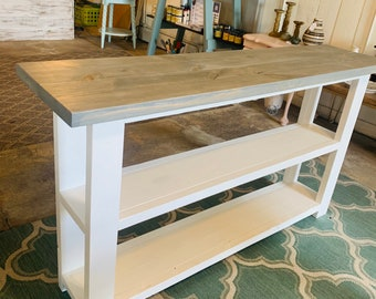 Rustic Farmhouse Narrow Bookcase, Console or Entryway Table with A Classic Gray Top and Solid White Base, Wooden Shelving Unit