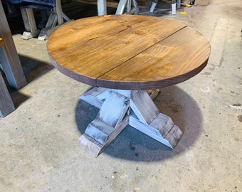 Round Farmhouse Rustic Coffee Table With Pedestal Base, Distressed White Base With Light Walnut Top Living Room Furniture