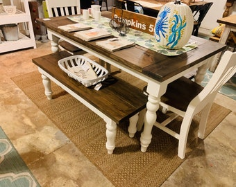 5ft Rustic Farmhouse Table with Turned Legs, Benches and Chair Set Dark Walnut Top and Antique White Base, Wooden Dining Table