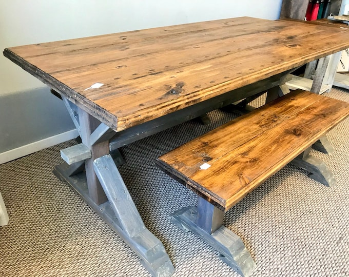 Rustic Pedestal Farmhouse Table With Benches Provincial Brown with White Gray Base Trestle Style Dining Set