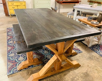 Modern Rustic Pedestal Farmhouse Table With Benches Black Top with an Early American Brown Base Wooden Dining Set