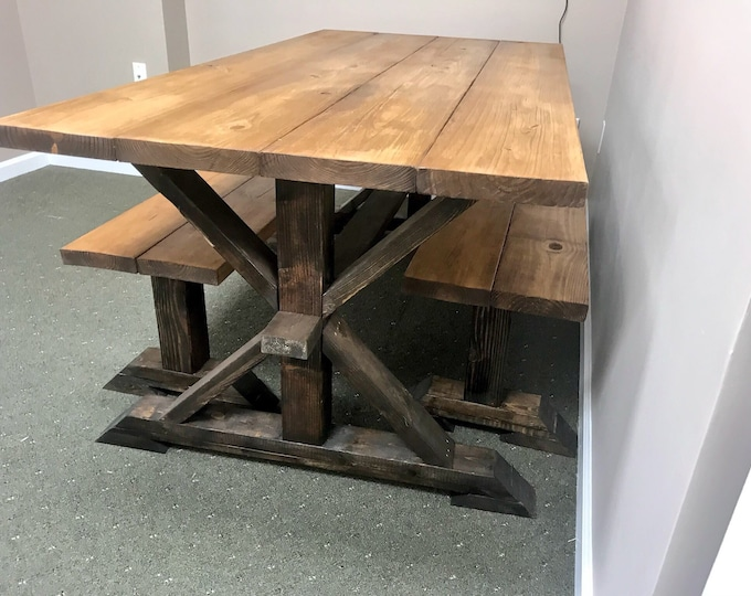 Rustic Pedestal Farmhouse Table With Benches Early American Brown with Dark Espresso Base Dining Set Wooden Modern Table