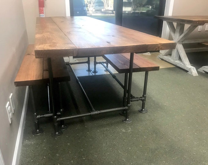 Industrial Style Farmhouse Table with Benches Black Iron Pipe Base and Legs Wooden Stained Walnut Top Industrial Rustic Dining Set