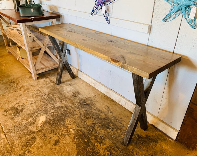 Industrial Farmhouse Entryway Table with Steel Legs and Wooden Weathered Brown Top, Modern Console Table Raw Steel Metal Legs