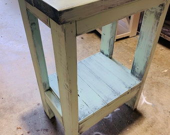 Small Rustic Console Table, Farmhouse Entryway Table with A Mint Distressed Look, Handmade Wood Buffet, Small Island