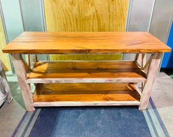 Rustic Wooden Buffet Table, Rustic Console Table, Farmhouse Buffet Table,  with Gunstock Shelving and a distressed frame.