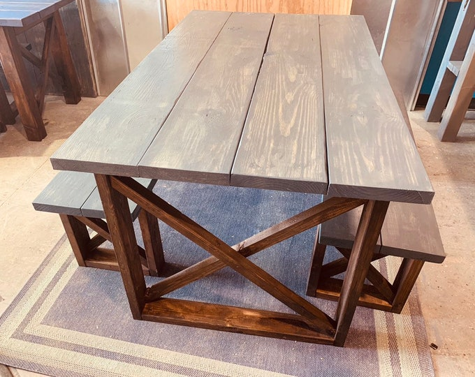 Rustic Small Farmhouse Table With Benches with Charcoal Colored Top and Dark Walnut Base and Cross Brace Design
