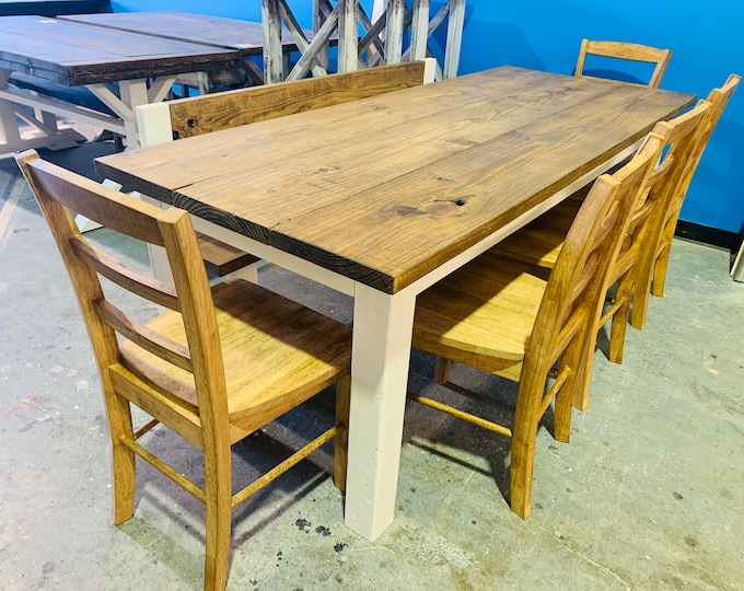 Rustic Farmhouse Table Set with Bench with Back and Chairs, White Base and Early American Brown Top, Dining Set with Chairs Kitchen Table