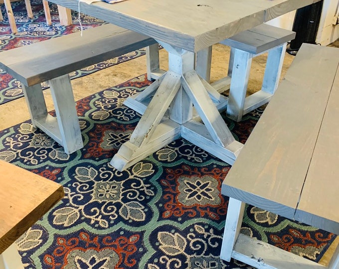 Rustic Square Pedestal Farmhouse Table with Benches and Stools, Weathered Gray top, White Distressed Base, Small Dining Set