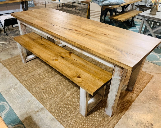 Rustic 7ft Farmhouse Table with Benches, Dining Set, Table Set, Early American Brown Top, White Distressed Base, Long Narrow Farmhouse Table