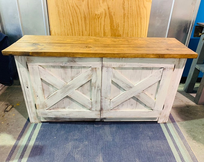 Rustic Farmhouse Buffet Distressed White Base and Provincial Brown Top, Wooden Cabinet with Doors, Server, Entertainment Stand with Storage