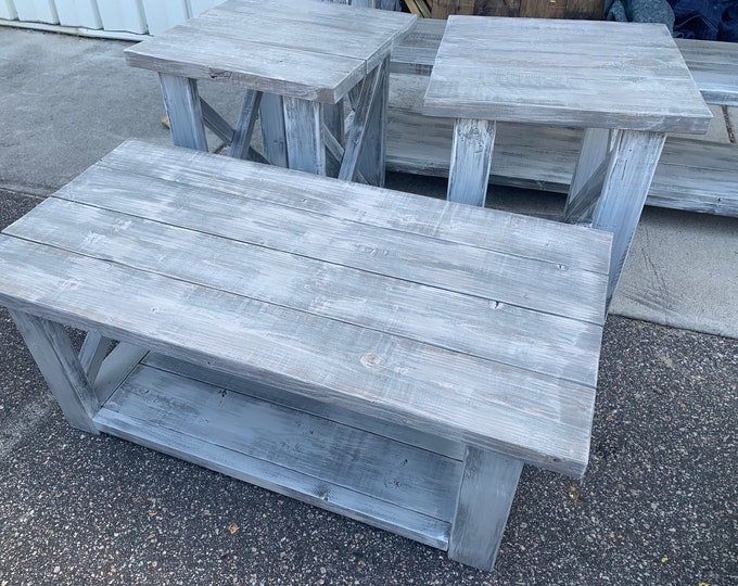 Farmhouse Living Room Set, End Tables Set and Coffee Table with Distressed White Base Gray White Wash Top, Rustic Living Room Furniture X