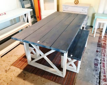 Rustic Farmhouse Table With Benches With White Wash Charcoal Etsy - Farmhouse table with white base