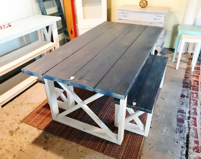 Rustic Farmhouse Table With Benches with Charcoal Colored Top and Weathered White Base and Cross Brace Design