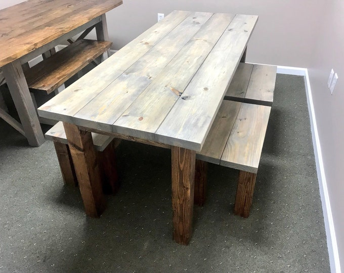 Rustic Wooden Farmhouse Table Set with Provincial Brown base and Classic Gray top Includes One Bench and Two Stools
