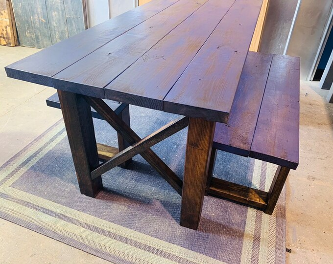 Rustic Wooden Farmhouse Table Set with Distressed Navy Top and Dark Walnut Base Criss Cross Style Includes Two Benches