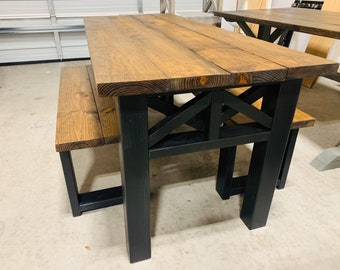Rustic Wooden Farmhouse Table Set with Provincial Brown Top and True Black Base Criss Cross Style Includes Two Benches