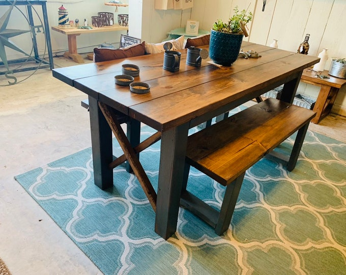 Rustic Wooden Farmhouse Table Set with Provincial Brown Top and Distressrd Gray Base Criss Cross Style Includes Two Benches