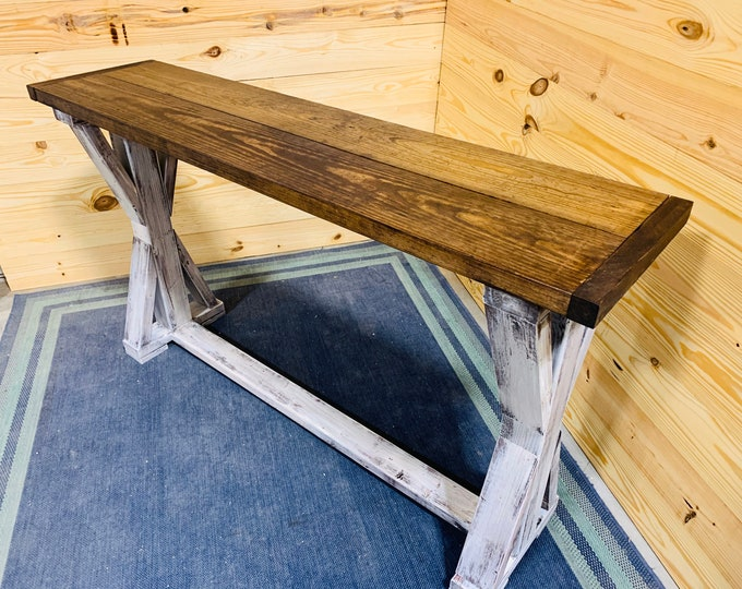 Rustic Console Table, Farmhouse Pedestal Entryway Table with Red Mahogany Top and Distressed White Base, Handmade Buffet