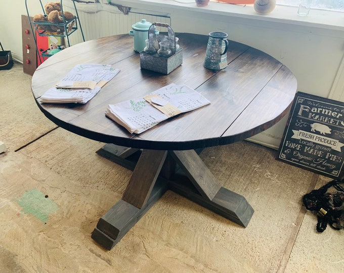 Round Rustic Farmhouse Table, Single Pedestal  Style Base, Dark Walnut Brown Top with Gray Base, Small Wooden Dining Table