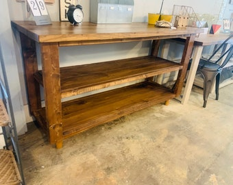 ModernWooden Buffet Table, Rustic Console Table, Farmhouse Buffet Table, Provincial Brown Wood Look Mid Century