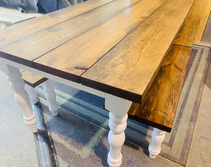 8 Foot Rustic Farmhouse Table with Bench Set, Turned Leg Long Banquet Table, White Base, and Provincial Brown Top, Wooden Dining Room Set