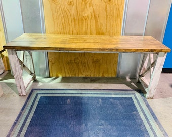 Long Rustic Farmhouse Desk with Provincial Top and White Distressed Base, X Style Accents, 6ft Desk, Console Table or Buffet