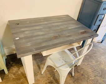 Rustic Farmhouse Desk with Storage, Antique White Base and Gray White Wash Top, Wooden Office Furniture, Deep Desk with Storage, X Accents