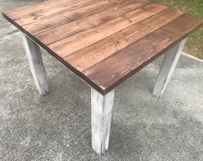 Square Farmhouse Table, Rustic Farmhouse Table, Light Walnut Brown Top Distressed White Base, Wooden Square Dining Table