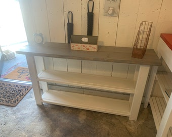 Rustic Farmhouse Narrow Bookcase, Console or Entryway Table with A Classic Gray Top and Antique White Base, Wooden Shelving Unit
