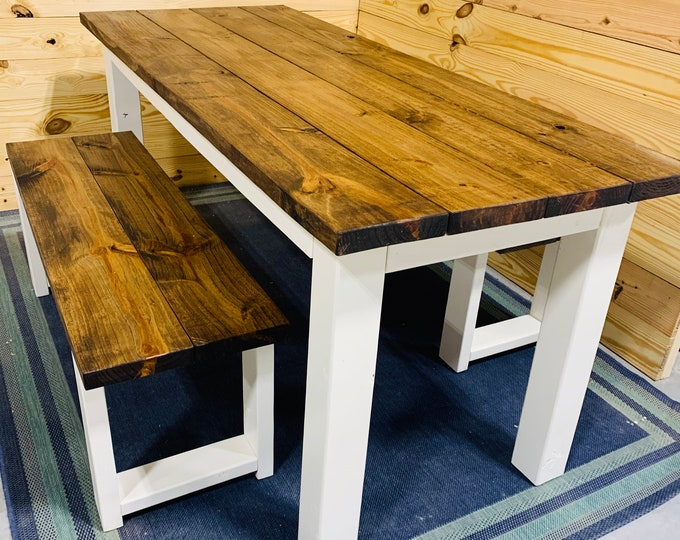 Narrow Rustic Farmhouse Table Set with Benches, White Base and  Provincial Brown Top, Dining Set and Kitchen Table Set