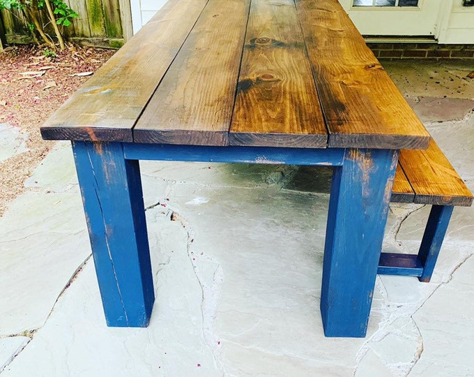 Rustic Farmhouse Table Set with Chunky Legs, Distressed Navy Blue Base and Provincial Brown top, Includes Bench, Wooden Dining Set