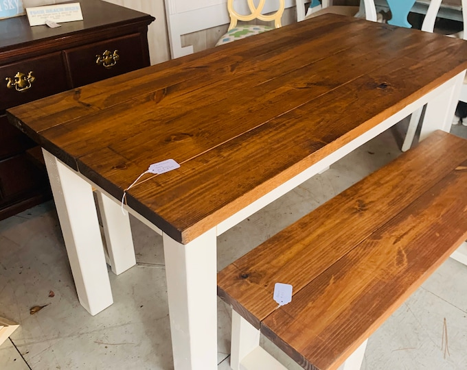 Narrow Rustic Farmhouse Table Set with Benches, White Base and Early American Brown Top, Dining Set with Chairs Kitchen Table Set
