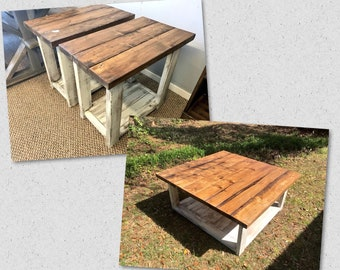 Rustic Living Room Set, Large Farmhouse Coffee Table With Set of Long End Tables, Provincial Brown Top, Creamy White Distressed Base
