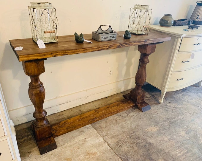 Rustic Farmhouse Entryway Table with shelve and Turned Legs, Stained a Provincial Brown, Wooden Sofa Console Table