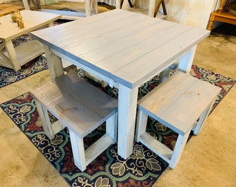 Square Farmhouse Table, Rustic Farmhouse Table, Dining Set with Stools, Table with Small Benches, Pearl Gray Top and Distressed Base