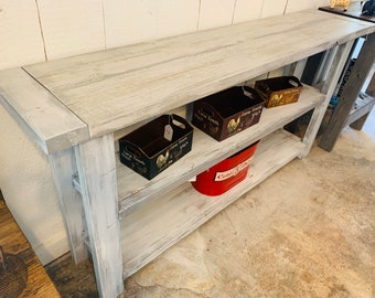 Rustic Farmhouse Narrow Bookcase, Console or Entryway Table with Gray White Wash Top and Distressed White Base, Wooden Shelving Unit