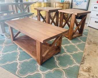 Farmhouse Living Room Set, End Tables Set and Coffee Table with a Farmhouse Provcial Brown Stain , Rustic Living Room Furniture X