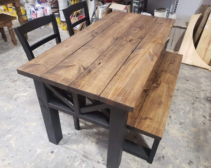 Rustic Wooden Farmhouse Table Set with Black Chairs and Bench Provincial Brown Top and True Black Base Criss Cross Style