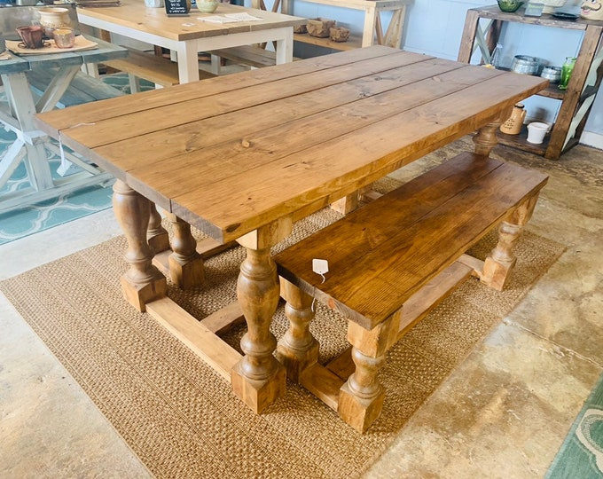 Rustic Farmhouse Table Set with Turned Legs and Benches, Stained an Early American Brown, Wooden Dining Set Clean Farmhouse Look