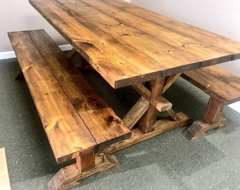 Rustic 6ft Pedestal Farmhouse Table With Long Benches Benches Provincial Brown  Dining Set, Brown Kitchen Table, Wooden Table Set