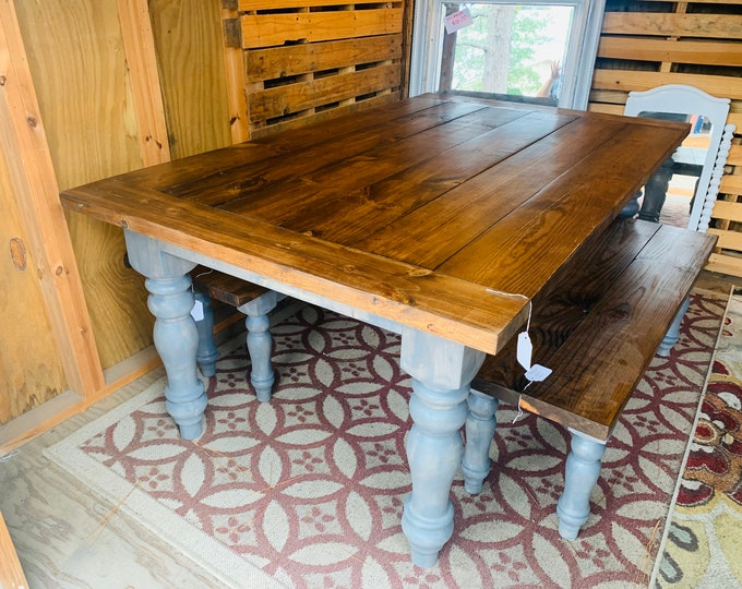 Rustic Farmhouse Table Set with Chunky Turned Legs and Breadboards , Two Benches, Provincial Brown Top and Classic Gray Stain Base
