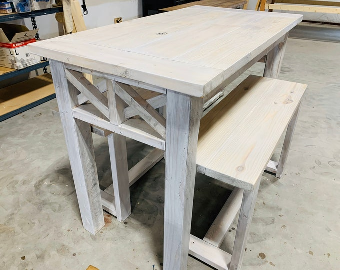 Counter Height Rustic Farmhouse Table with Benches, High Top Table with Tall Seating White Wash With Gray Tones, Dining Set or Kitchen Table